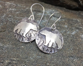 Sterling Silver Bear Earrings, Round Earrings, Wildlife Jewelry, Everyday Earrings, Made In New Hampshire Made, Bear lover Gift, Nature Gift