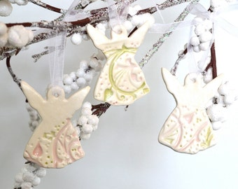 Ceramic Angel Ornaments, Imprinted Pink Green on White, Set of Three 6517