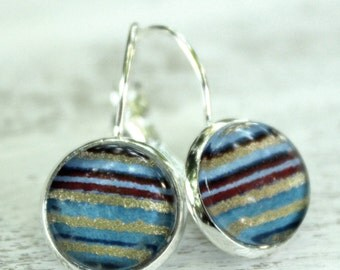 Blue Stripe Chiyogami Round Earrings.