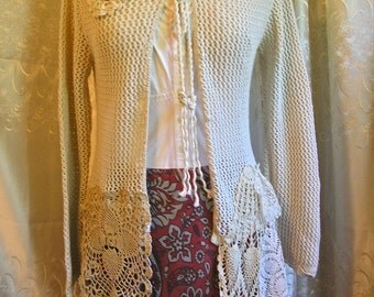 Bohemian Doily Sweater, soft cotton crochet doilies, hooded sweater, off white sweater, cotton sweater, altered sweater, SMALL