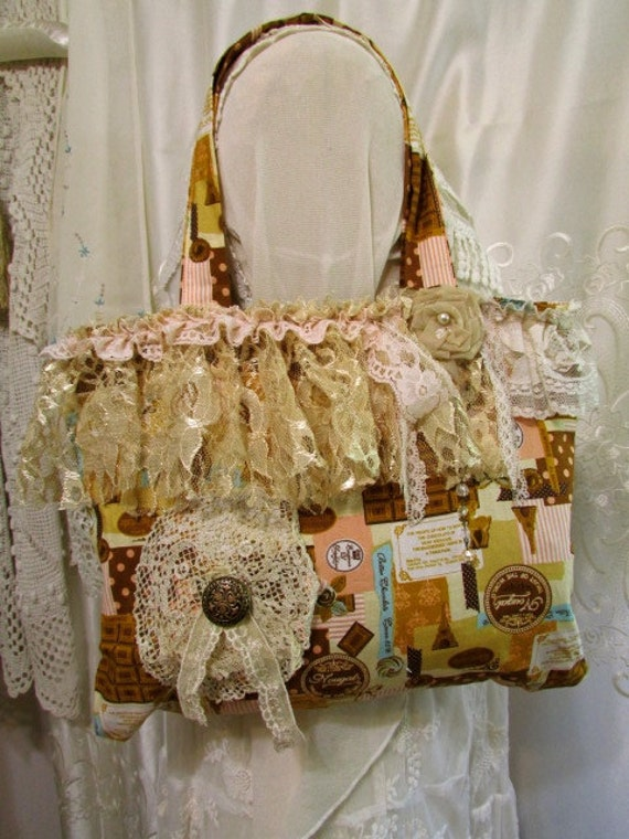Shabby fabric handbag, zipper closure, romantic cottage chic lace embellished, handmade cotton purse, France Paris chocolate theme
