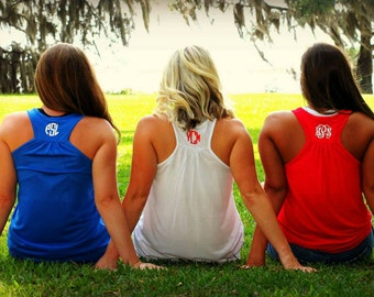 Monogram Tank Independence Day Memorial Day Labor Day Red White and Blue Apparel