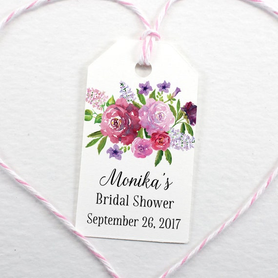 Bridal Shower Favor Tag, Personalized Wedding Tags, Watercolor Bouquet ...