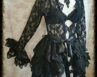 NOIR ROMANTIQUE Lace Ruffle Bustle  By Gothic Burlesque