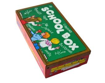 Vintage School Box, Tin School Supplies Box Ohio Art Tin Pencil Box
