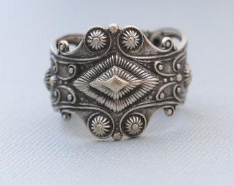 Gypsy Boho Ring,Flower Silver Ring,Jewelry Gift, Ring,Silver,Flower,Antique Ring,Silver Ring,Blossom,Wedding,Bridesmaid.