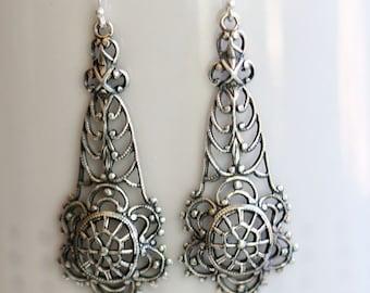 Filigree Flower Silver Earrings,Earrings,Gypsy Girl,Boho Earring,Hoop Earring,Jewelry Gift, Silver Earrings,Wedding,Bridal, Bridesmaid