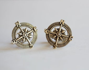 Men's Cufflinks, Compass Cufflinks,Steampunk,Antique Silver,Groomsmen,Vintage Style,Gothic Victorian,