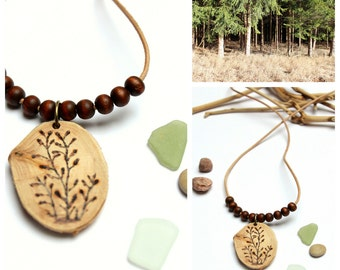 Wood necklace wild plants