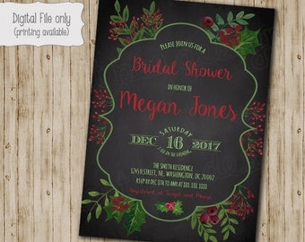 Christmas bridal shower invitations, holiday bridal brunch invitation, holiday bridal shower invites, red roses shower invite, PRINTABLE
