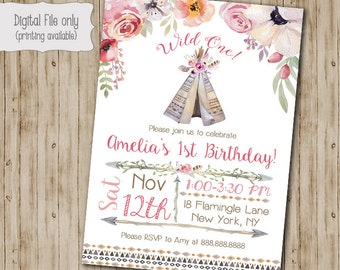 Wild One Birthday invitation, Teepee Tribal invitation, Teepee Birthday invite, Watercolor, Floral, Shabby Chic, Boho Birthday Invitation