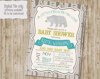 bear baby shower invitation, woodland baby shower invitation, bear birthday invitation, baby bear baby shower invitation, bear invitation