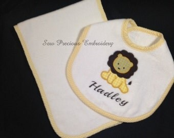 Monogrammed Bib & Burp Cloth Set in Yellow, Pink, Blue or White Gingham Trim with Custom Personalization