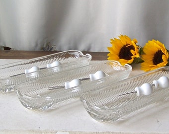 Vintage Corn Dishes Corn On The Cob Footed Glass Cob Dish Made in Brazil Porcelain Cob Holders 1960s