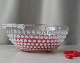 Vintage Opalescent Glass Hobnail Bowl Hobnail Candy Dish Glass Bowl Pierced Handles Vintage 1940s