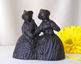 Vintage Cast Iron Bell Two Victorian Dutch Ladies Double Bells Dinner Bell Vintage 1990s