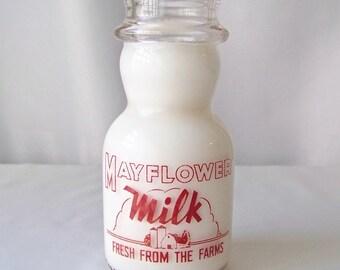 Vintage Milk Bottle Mayflower Milk Fresh From The Farms County Decor Farm House Kitchen 1940s