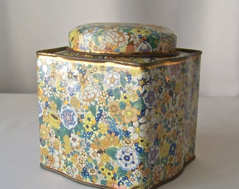 Vintage Kitchen Tin by Daher Petite Chintz Pattern Tin Blue White and Yellow Gold Sculptured Tin Made in England Vintage 1970s