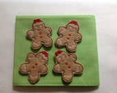 GINGERBREAD GIRL Felt Embellishments / Appliques - Machine Embroidered - Set Of 4 - Ready To Ship