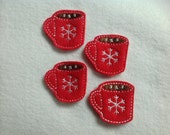 HOT COCOA Felt Embellishments / Appliques - Set Of 4 - Ready To Ship