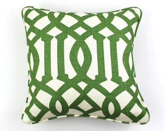 Schumacher Kelly Wearstler Imperial Trellis Pillows with welting - Comes in 11 Colors (Shown in Treillage - Both Sides)