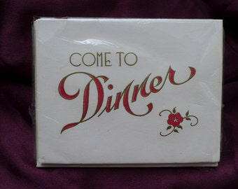 Red and Gold Embossed VIntage Dinner Invitations