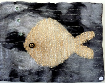 Felted fishTextile Art Wallhanging 'Shimmer '