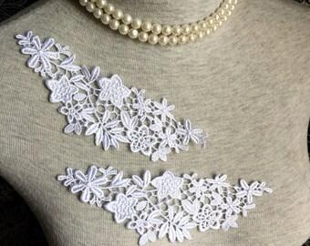 Ivory Lace Trim- 3 PCS Ivory Star Flower Appliques Lace Trim (A245)