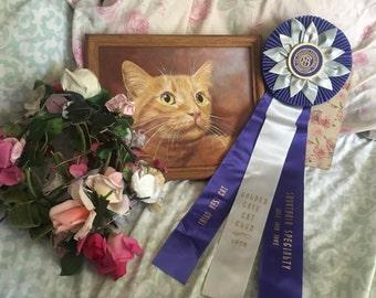 Vintage CFA CAT Show Satin Ribbon Rosette Award Best Cat   Shorthair Golden Gate Baby Blue Royal