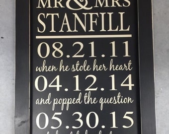 19x27 inch sign Mr & Mrs sign- when he stole her heart custom sign engagement sign wedding