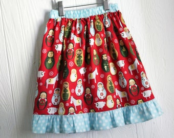 Christmas matryoshka doll nativity skirt in Size 5 and Size 2 CLEARANCE