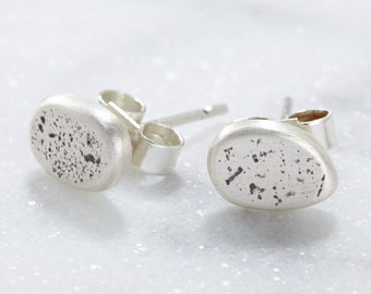 Flecked Sterling Silver Pebble Studs