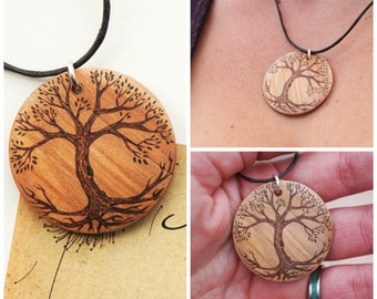 Wooden Pendant, Pyrography on wood, Pyrography Jewellery, Rustic natural jewellery, tree of life, personalised jewellery, tree pendant