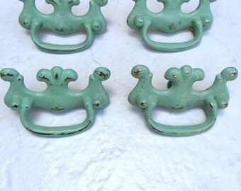 Vintage Drawer Pulls. Brass Handle Pulls. Set of Four. Hand Painted Drawer Pulls.Ready to Ship