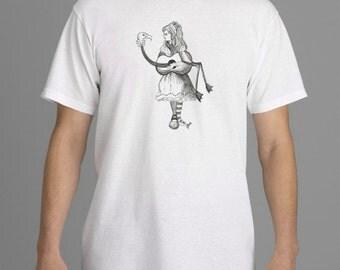 Alice in Wonderland T-shirt, Flamingo Guitar, Tim Burton Inspired, proceeds to Alzheimer's Association