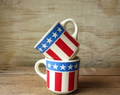 Stars and Stripes Vintage Diner Ware American Flag Mug Coffee Cup Red Whit and Blue