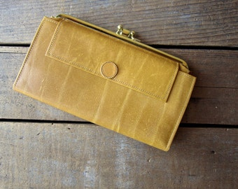 Vintage Leather Wallet  Gold Textured Cow Hide Wallet Small Clutch