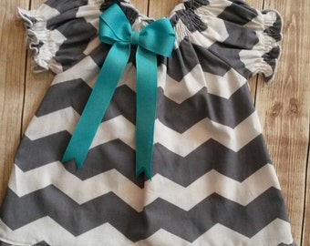 Grey Chevron Peasant Dress for babies, toddlers and girls