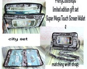 smartphone wallet, gift set, matching straps, iphone, phone wristlet, crossbody, Super Mega Touch Screen Wallet, city bricks, bikes