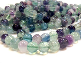 A Grade 6 mm. Rainbow Fluorite Stone Smooth Round Beads - Full Strand 15.5 inches (MJ0603W20)