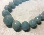 Blue Celestite necklace - baby blues -natural semiprecious gemstones  graduated beads