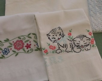 Vintage Pillowcases, 3 Piece Mismatched White Cotton with Kittens, Flowers and Lace