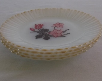 Vintage Milk Glass Salad Plates, Milk Glass, Termocrisa Tulip, Mexico, 4 Pieces