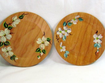 Two Vintage Hand Painted Wooden Plates Dogwood Flowers