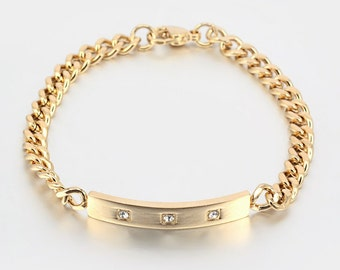 SALE - Gold Stainless Steel Rectangle Link Bracelet