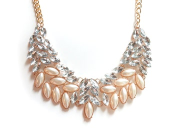 SALE - Pearl Rhinestone Gold Statement Necklace