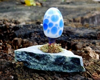 Glass Mushroom Sculpture on Reclaimed Urban Marble with moss, Ready to Ship