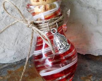 Hand Blown Ruby Glass Jar, Hindu God/Holistic/Oils, Ready To Ship