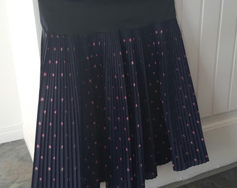 SALE Vintage 50s Navy Floral Pleated Skirt Full Circle