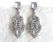 Art Deco Rhinestone Earrings Wedding Bridesmaid Dangle Bridal Jewelry Diamond Glamour Hollywood Dainty Small Regal Gift Her Formal Evening